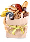 stock photo of high calorie foods  - Paper shopping bag with high - JPG