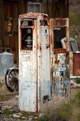 picture of bowser  - Derelict rusty old analogue style petrol pump - JPG
