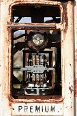 image of bowser  - Derelict rusty old analogue style petrol pump - JPG