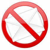 foto of no spamming  - Prohibition spam sign on white background - JPG
