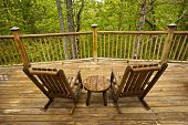 stock photo of gatlinburg  - Beautiful view of the Smoky Mountains from the deck of a cabin - JPG