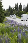 image of recreational vehicles  - Recreational vehicles on a rural road - JPG
