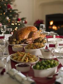 picture of christmas dinner  - Roast Turkey Christmas Dinner - JPG