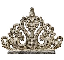 stock photo of swastika  - Stone decorative carving with traditional asian swastika isolated on white background - JPG