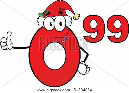 Price Tag Red Number 0 99 With Santa Hat Cartoon Character Giving A Thumb Up
