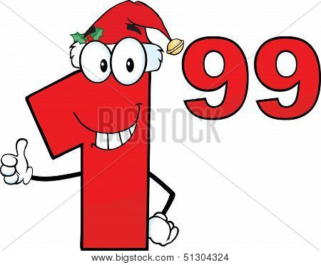 Price Tag Red Number 1 99 With Santa Hat Cartoon Character Giving A Thumb Up