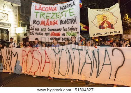 Protests Against Cyanide Gold Extraction At Rosia Montana