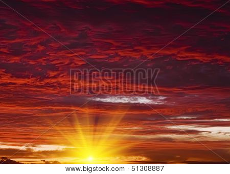 Red Sunset Sky