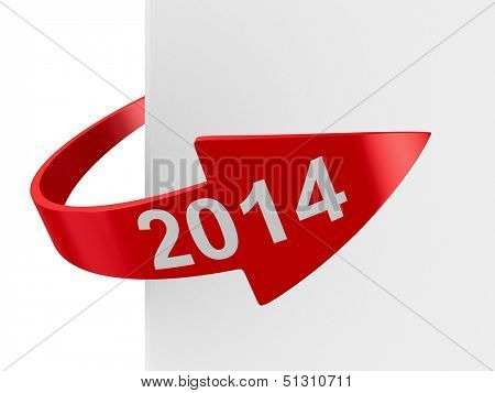red arrow on white background. Isolated 3D image