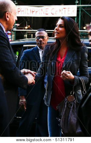 NEW YORK-SEP 23: Actress Nadia Bjorlin arrives at the 'Days of our Lives: Better Living' book tour on September 23, 2013 in New York City.