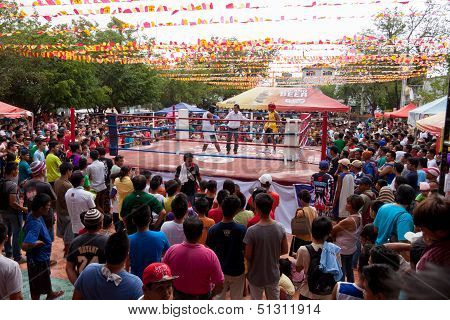 Amateur boxing in a park