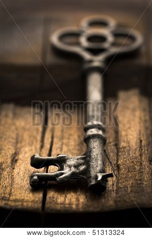 Skeleton Key On Wood Selective Focus