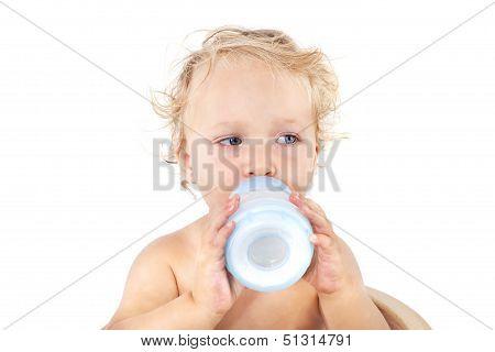 Cute Baby Girl Drinking Milk.