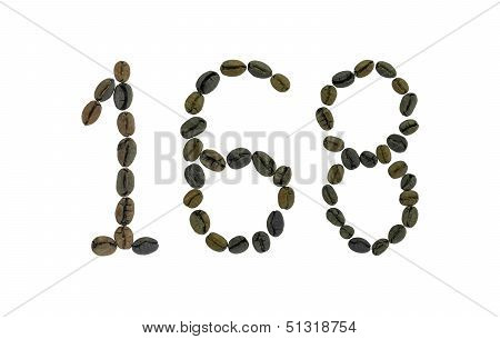 Number 168 made from coffee beans