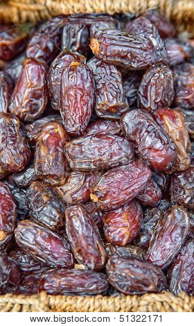 Dates in wicker basket at the market