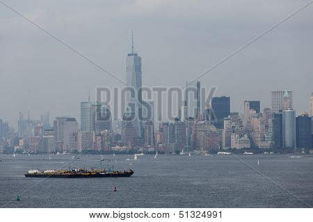 Freighter In New York Harbor