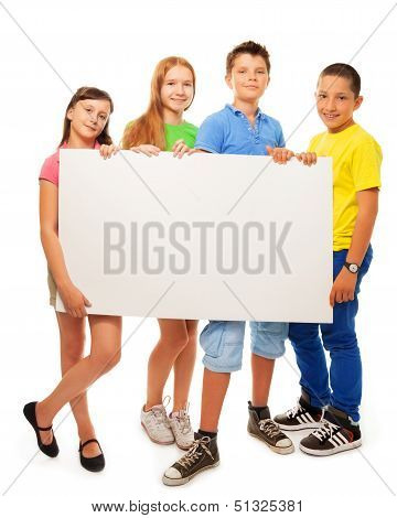 Group Of Kids With Advertising