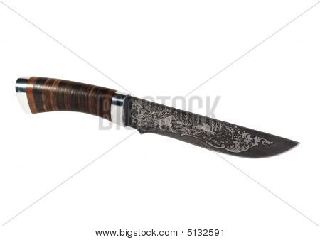 Hunting Knife With A Pattern Of Damask Steel