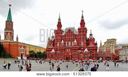 Tourists visiting the Red Square in Moscow