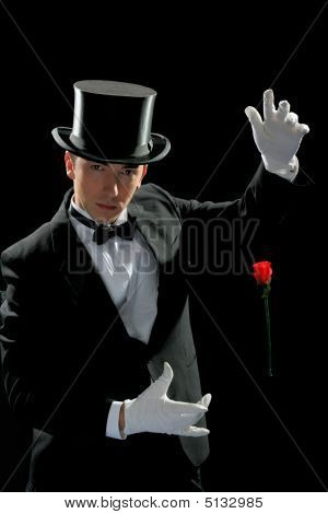 Young Magician With Flying Rose