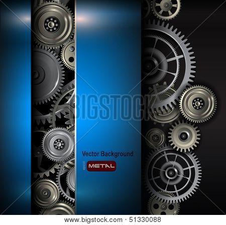 Fondo metálicos engranajes y piñones, Ilustración de vectores de tecnología.