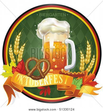 Vintage Oktoberfest label with space for text. Beautiful Vector illustration