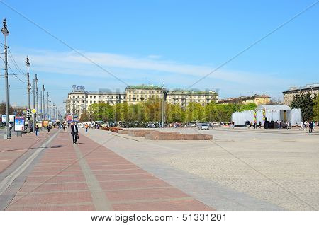 Moscow Square In Petersburg, Russia.