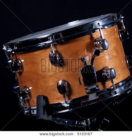 Wood Snare Drum On Black