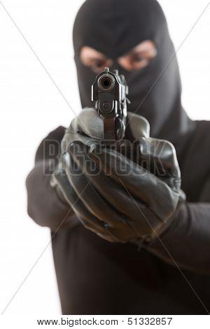Thief Pointing A Gun