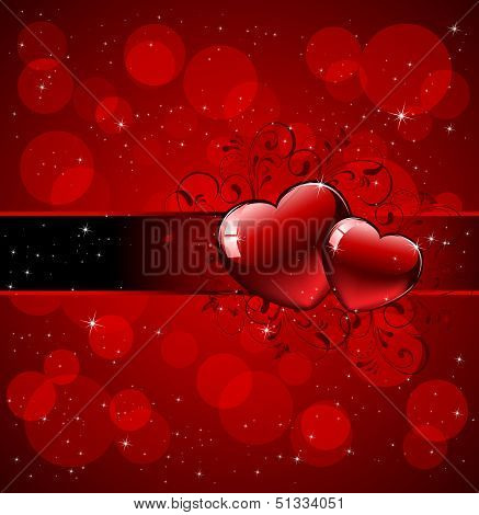 Hearts with ornate elements on red background