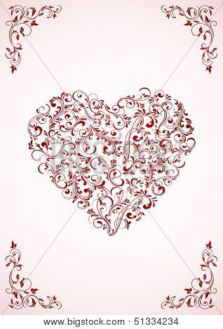Valentine's card with ornate Heart