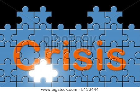 Crisis Text Written On A Puzzle Background