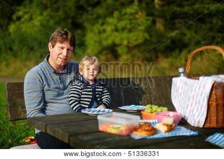Young Father And Little Boy Picnicking In The Park