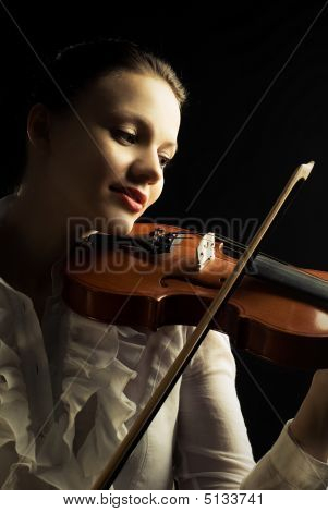 Beautiful Woman Playing The Viloin