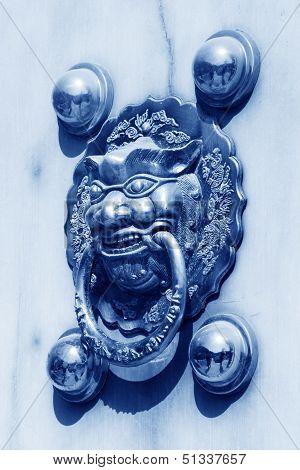 Metal Knocker On The Door In The Forbidden City In Beijing, China, Blue Picture