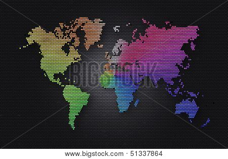 Abstract Background Dark Grey Sphere With Rainbow World Map Of The Continents Of The World