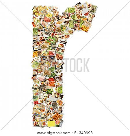 Food Art R Lowercase Shape Collage Abstract