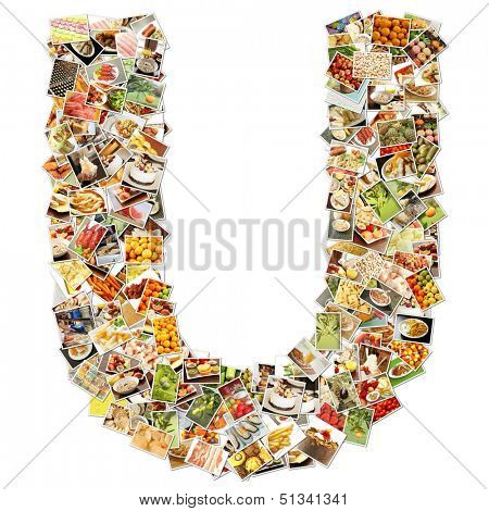 Food Art U Lowercase Shape Collage Abstract