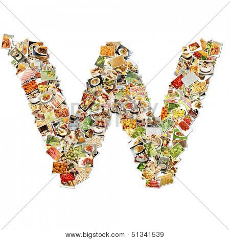 Food Art W Lowercase Shape Collage Abstract