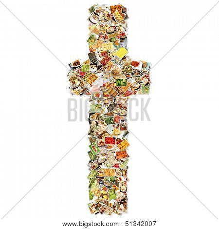 Food Art T Lowercase Shape Collage Abstract