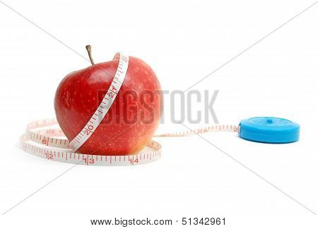 Red Fresh Apple With Tape