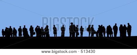 People In Line Silhouette