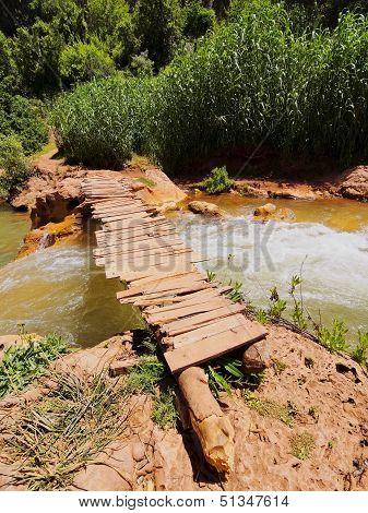 Wooden Bridge On Ouzoud River, Morocco