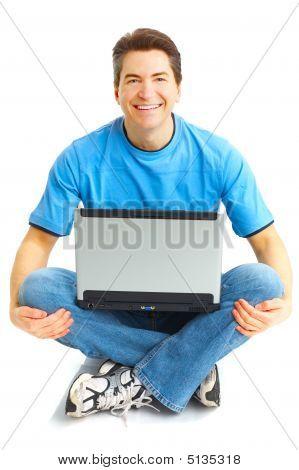 Happy Man With Laptop