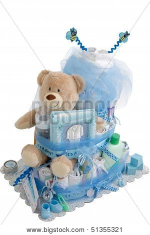 Isolated Baby Diaper Cake Present
