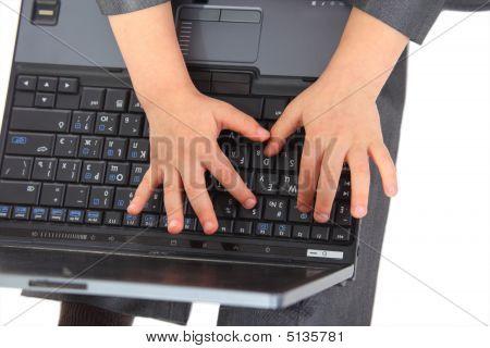 Hands On Laptpop`s Keyboard