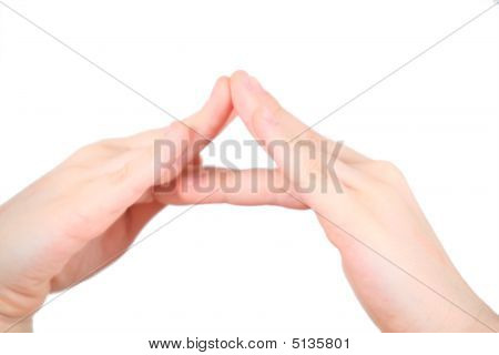 Hands Represents Letter A From Alphabet