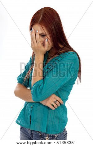 Young Woman Appears To Be Under A Lot Of Stress.