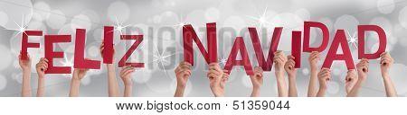 Hands Holding Red Feliz Navidad