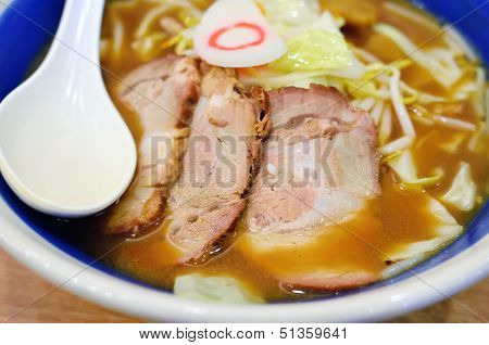 Japanese Cuisine, Noodle With Roast Pork In Miso Soup